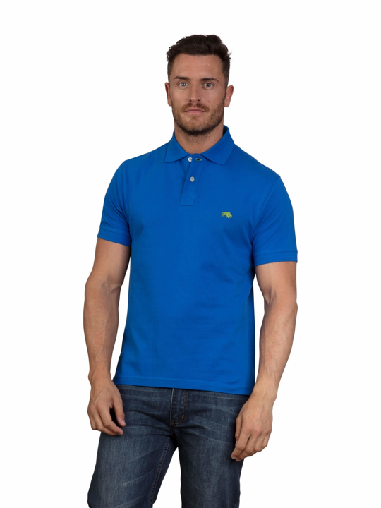 model wearing high quality cobalt blue polo shirt