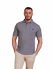 model wearing high quality grey polo shirt
