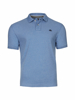 model wearing high quality mid blue jersey polo shirt