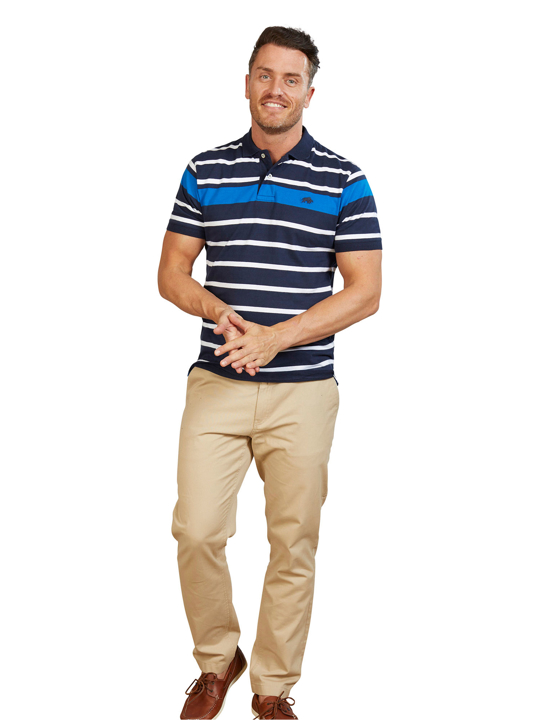Model wearing Blue and white striped polo top
