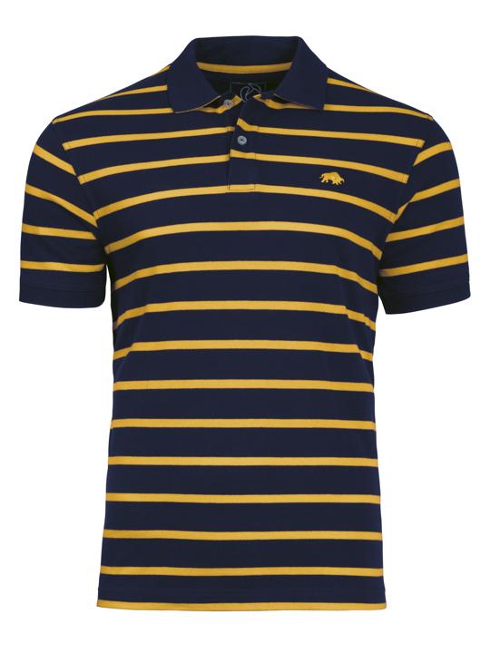 Raging Bull Breton Stripe Polo - Navy/Yellow