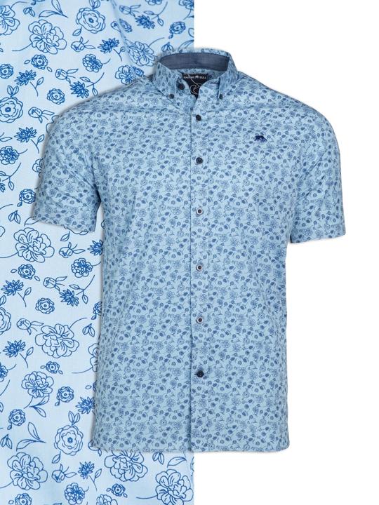 Raging Bull Short Sleeve Floral Print Shirt - Sky Blue
