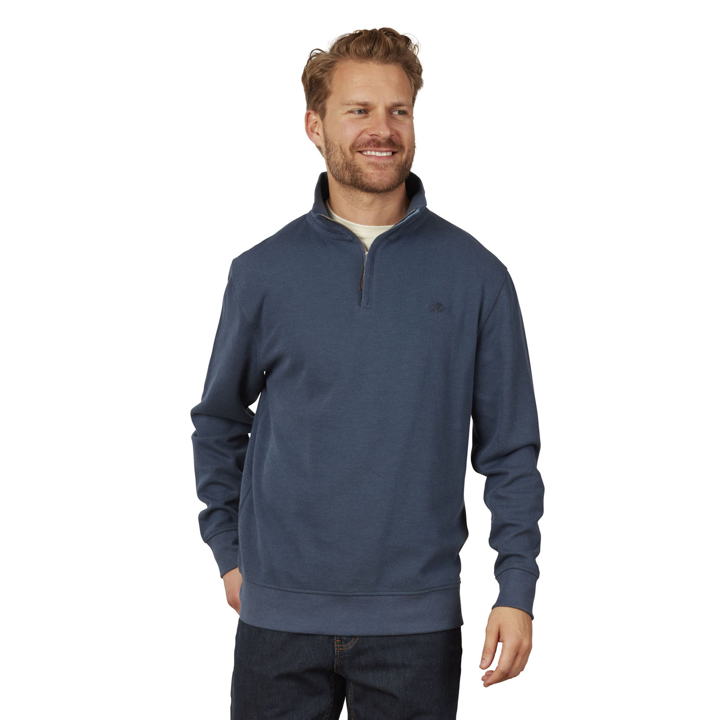 Raging Bull - Big & Tall - Jersey Quarter Zip Sweat - Denim