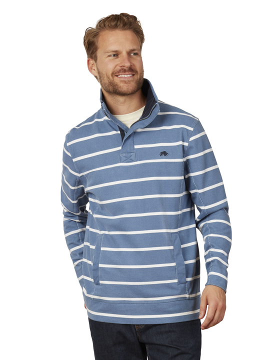 Raging Bull - Big & Tall Stripe Quarter Zip Pique - Mid Blue